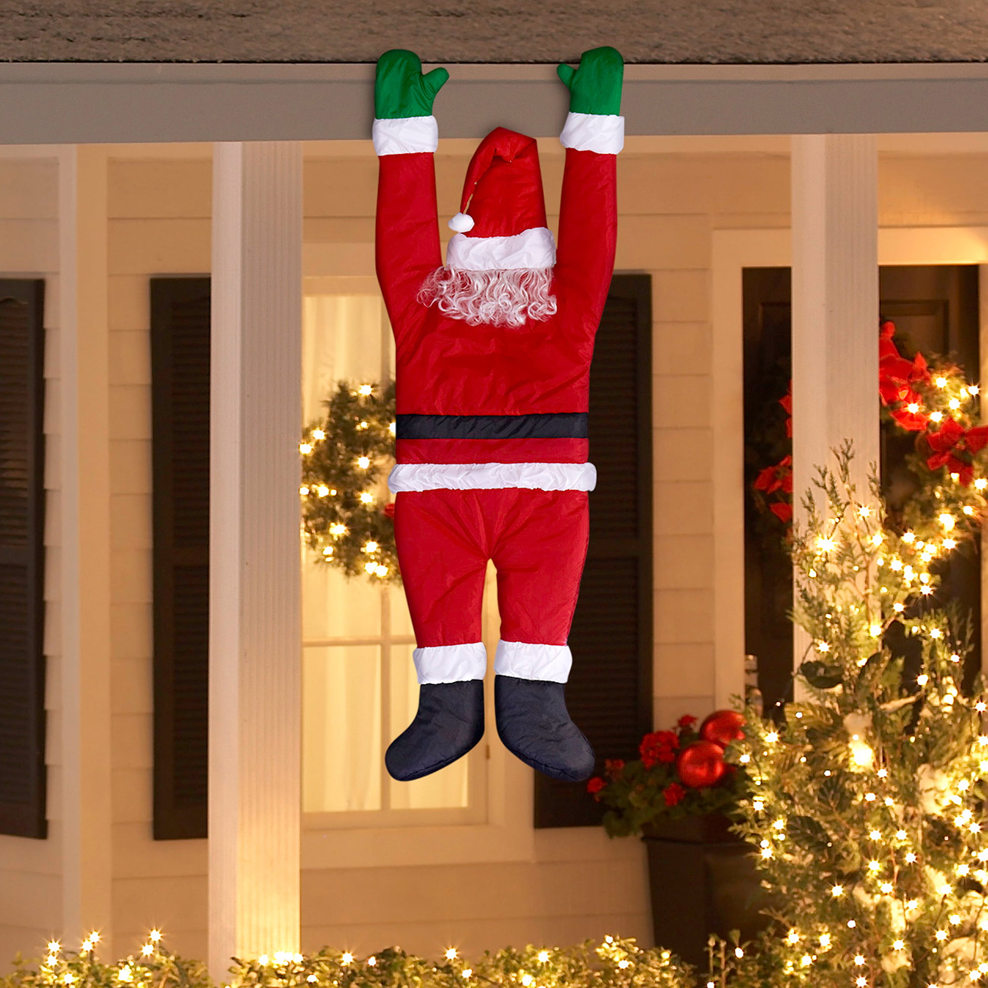holiday time christmas decor hanging santa by gemmy industries walmartcom