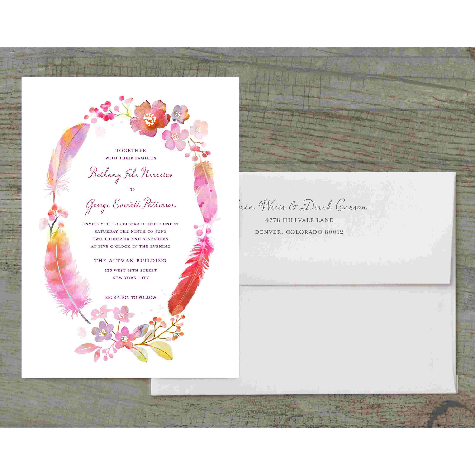 Watercolor Feather Deluxe Wedding Invitation