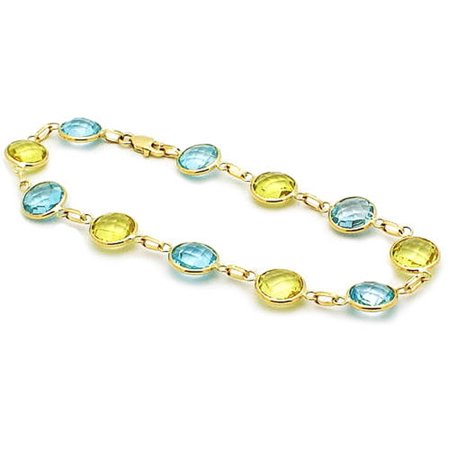 14k Lemon And Blue Topaz Gemstone Bracelet (7.5.cts.tw) - Lemon Citrine Gemstone