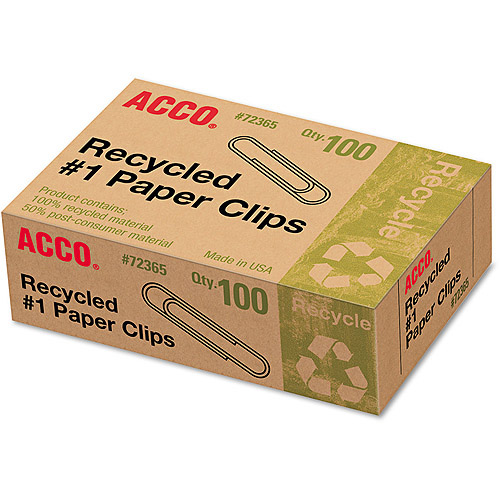 ACCO Recycled Paper Clips, 100/Box, 10 Boxes/Pack