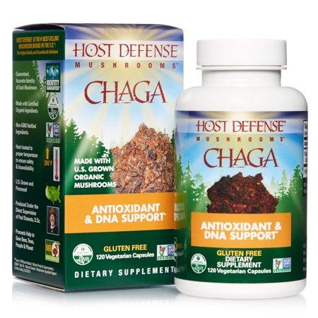 Host Defense, Chaga Capsules, Antioxidant and DNA Support, Daily Mushroom Supplement, Vegan, Organic, Gluten Free, 120 Capsules (60 Servings)