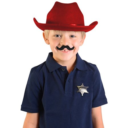 13' Fusion Hi Hat - Child's Red Country Cow Boy Cowboy Hat With Mustache And Badge Accessory Kit