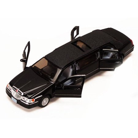 1982 82 Lincoln Town Car - 1999 Lincoln Town Car Stretch Limousine, Black - Kinsmart 7001DK - 1/38 scale Diecast Model Toy Car (Brand New, but NOT IN BOX)