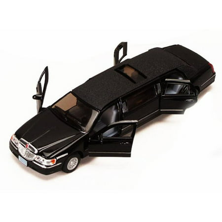 1999 Lincoln Town Car Stretch Limousine, Black - Kinsmart 7001DK - 1/38 scale Diecast Model Toy Car (Brand New, but NOT IN BOX)