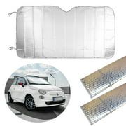 2 Pc Auto Car Sun Shade Foldable Sun Visor Front Wind Shield Rear Window Silver