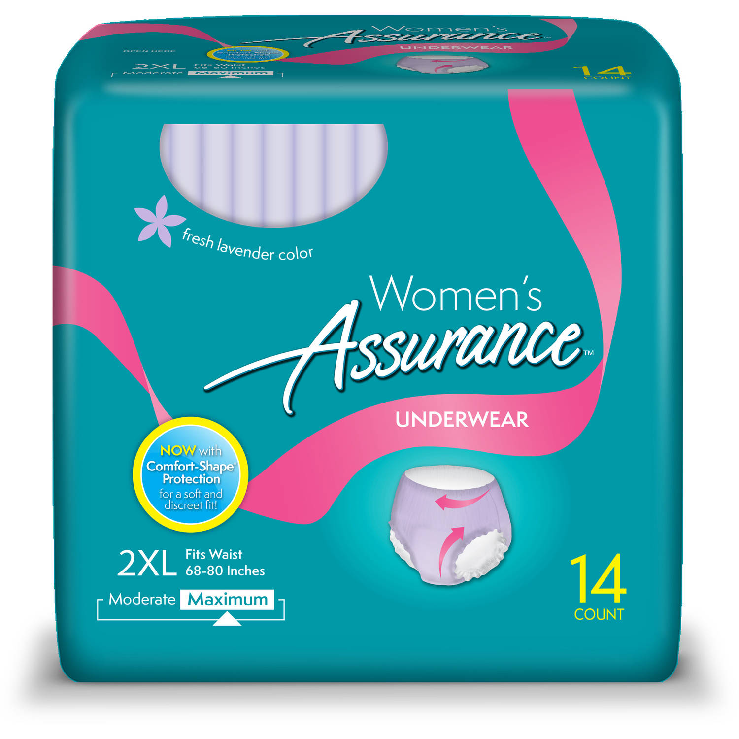 Assurance for Women Maximum Absorbency Protective Underwear, 2XL, 14 count