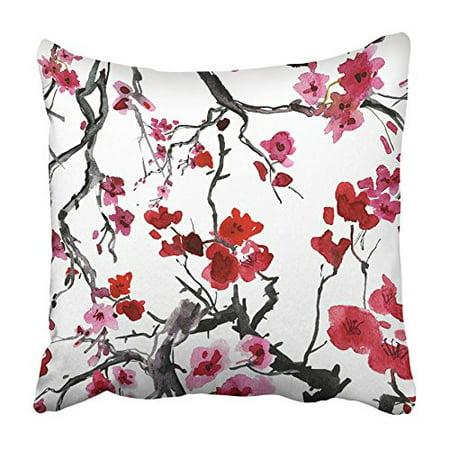 ARHOME Purple Flower Realistic Sakura Blossom Japanese Cherry Tree Red Plum Abstract Pillowcase Cushion Cover 16x16 - Red Cherry Blossom
