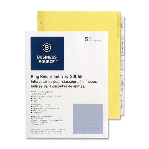 "Business Source Ring Binder Index Divider - Blank - 5 Tab[s]/set - 8.50"" X 11"" - 5 / Set - Buff Divider - Clear Tab (BSN20068)"