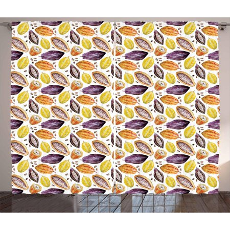 Cocoa Curtains 2 Panels Set, Beans in Different Colors Watercolor Style Pastel Shades Row Taste Fruits, Window Drapes for Living Room Bedroom, 108W X 108L Inches, Plum Yellow Orange, by (Inch By Inch Row By Row Chords)