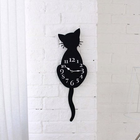 Iuhan Creative Cartoon Cute Cat Wall Clock Home Decor Watch Way Tail Move Silence (76 Kit Cat Clock)