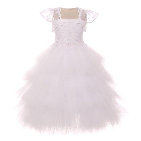 Chic Baby Little Girls White Embroidered Fluffy Bolero Flower Girl Dress](Fluffy Girls)