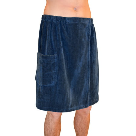 Radiant Saunas Men's Spa & Bath Terry Cloth Towel Wrap - Navy Blue