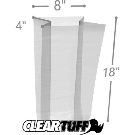APQ Pack of 1000 Gusseted Poly Bags 8 x 4 x 18. Clear Polyethylene Bags 8x4x18. FDA, USDA Approved 2 Mil. Expandable Side Gusset Bags. Open Ended Bags for Industrial, Food Service, Healthcare (2 Mil Clear Gusseted)