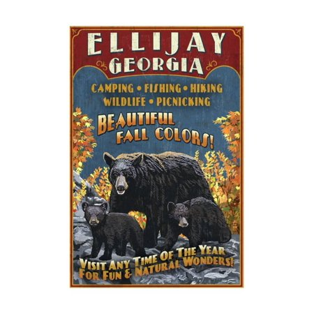 Ellijay, Georgia - Black Bear Vintage Sign Print Wall Art By Lantern