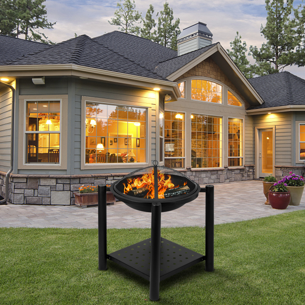 """Wood Burning Fire Pit, 22"""" Round Shaped Metal Firepit ..."""