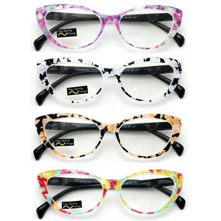 V.W.E. Mosaic Pattern Plastic WoMen's Cat Eye Reading Glasses, 4 Pair 10 Pair Reading Glasses
