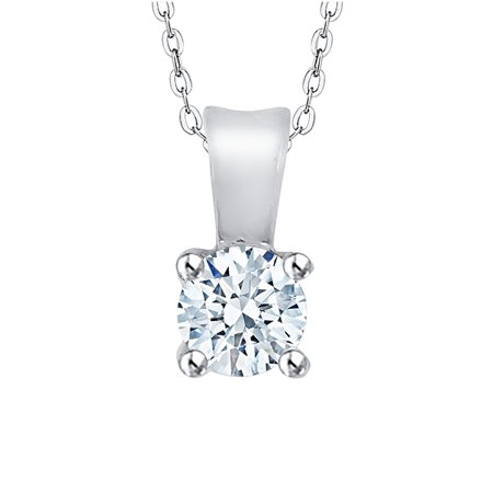 - Prong Set Diamond Solitaire Pendant Necklace in 14K White Gold (3/8 cttw, G-H, I2/I3)