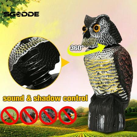 - Rotating Head Fake Standing Owl Decoy Bird Hunting Shooting Deterrent Scarer Pest Repeller Outdoor Garden Yard Decoration