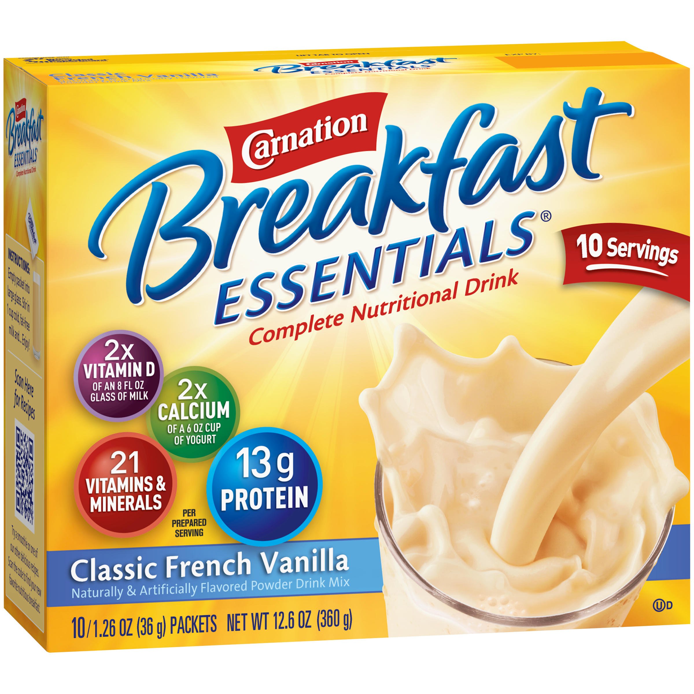 Carnation Breakfast Essentials�� Classic French Vanilla Complete Nutritional Drink Mix, 1.26 oz, 10 count