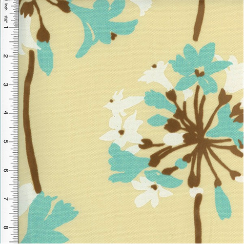 Designer Turquoise/Brown Sparkler Floral Flock Print Home Decorating Fabric, Fabric By the Yard