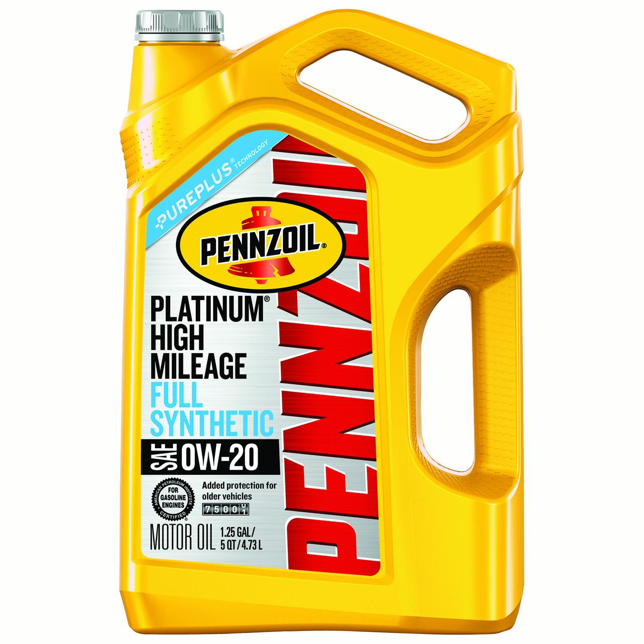 Pennzoil Platinum High Mileage 0W-20 Full Synthetic Motor Oil, 5 qt