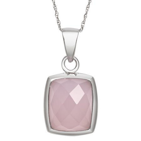 "Rectangular Faceted Rose Quartz Sterling Silver Pendant, 18"" Chain"