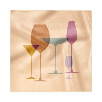 Merlot Napkins Set of 4, Wine Glasses Silhouette Martini Glass Grain Look Print, Silky Satin Fabric for Brunch Dinner Buffet Party, by Ambesonne