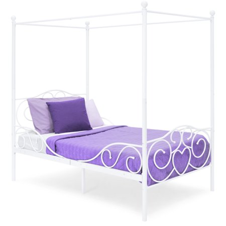 Best Choice Products 4-Post Metal Canopy Twin Bed Frame with Heart Scroll Design, Slats, Headboard, and Footboard, White