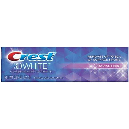 Sodium Fluoride Anticavity Toothpaste (Crest 3D White Vivid Fluoride Anticavity Toothpaste, Radiant Mint  0.85 oz)