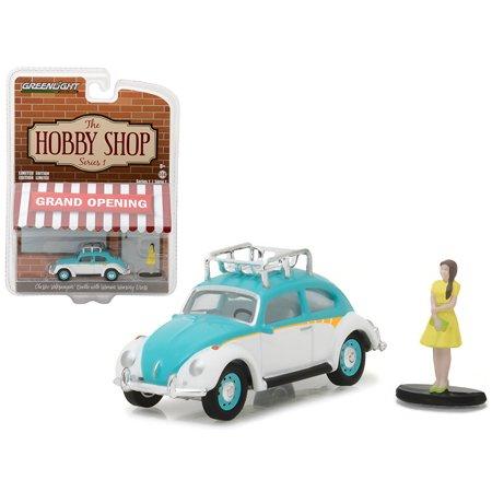 Classic Volkswagen Beetle White&Blue w/Roof Rack &Woman in Dress