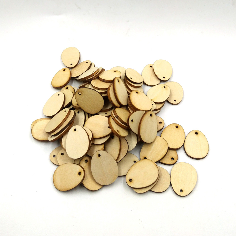 100Pcs Wooden Easter Eggs Wood Craft For Easter Decorations Tag