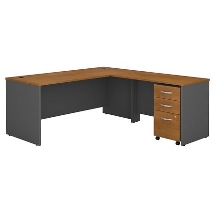 Series C 72W L Shaped Desk with File Cabinet in Natural Cherry - Engineered Wood Mahogany Kidney Shaped Desk