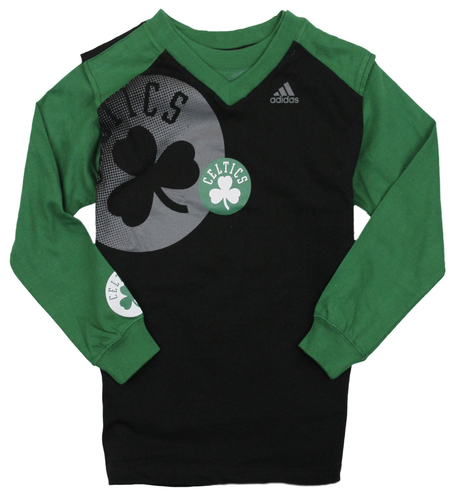 Adidas NBA Basketball Youth Boys Boston Celtics 3-in-1 Muscle Shirt, Black / Green