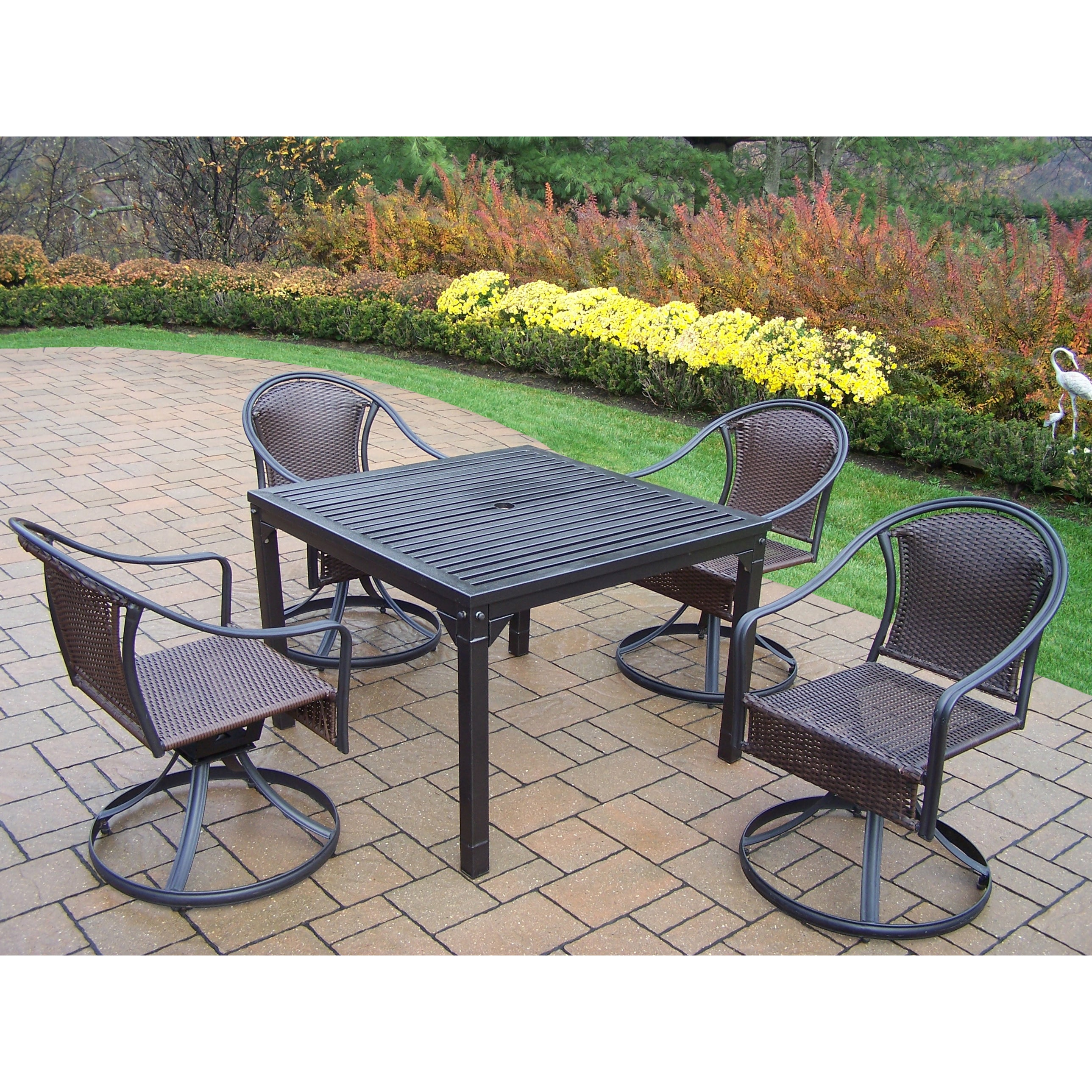 Oakland Living Corporation Hometown Outdoor Dining Set with 4 Wicker Swivel Chairs