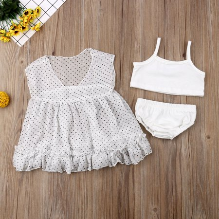 Baby Girls Rash Guards Dots Dresses Tank Tops + Bottom 3Pcs Beach Wear Dresses Outfits