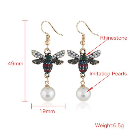 Ustyle Women Bee Rhinestone Imitation Pearl Earrings Female All-match Metal Ear Hook Gift Lady Dangle Drop - image 2 of 7