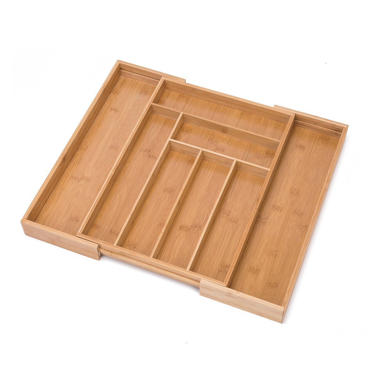 THY COLLECTIBLES Bamboo Expandable Kitchen Cutlery Utensils Drawer Organizer Premium 100% Pure Bamboo, Adjustable Kitchen Drawer Divider Tray