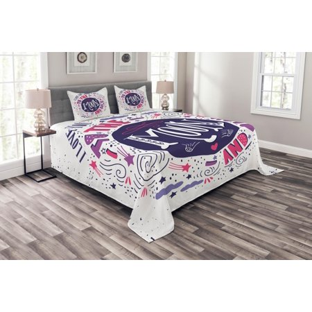 I Love You Bedspread Set, Sweet Colorful Love with Fun Forms Comet Rain  Storm Clouds Volcano Theme, Decorative Quilted Coverlet Set with Pillow  Shams