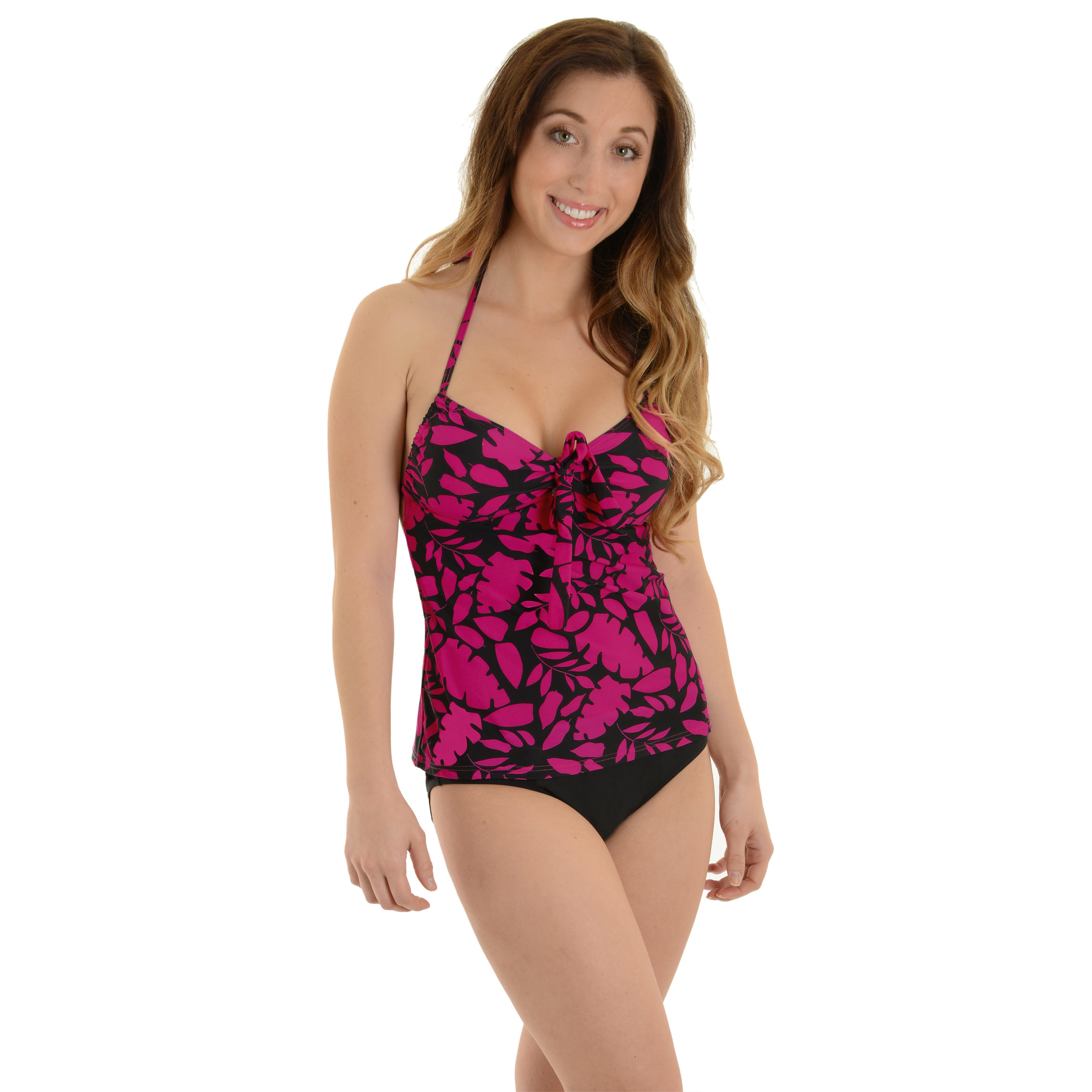 Caribbean Women's Tankini Swimsuit Halter 2 Piece Set Hot Pink and Black Print