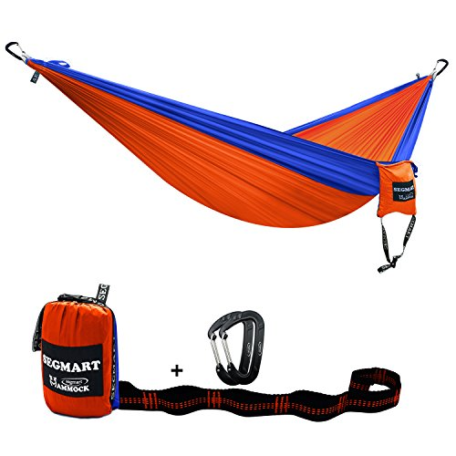 Camping Hammock- Easy Hanging Double Hammock with Tree Straps&Carabiners,Blue/Orange, 600lbs, I0108
