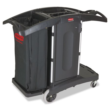 Rubbermaid Commercial Compact Folding Housekeeping Cart, 22w x 51 3/4d x 44h, Black