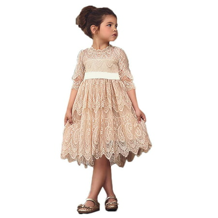 StylesILove Princess 3/4 Sleeve Midi Length Floral Lace A-line Wedding Dress Flower Girl Pageant Party Clothes