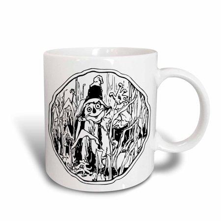 Halloween Line Art (3dRose Halloween Scarecrow Line Art, Ceramic Mug,)