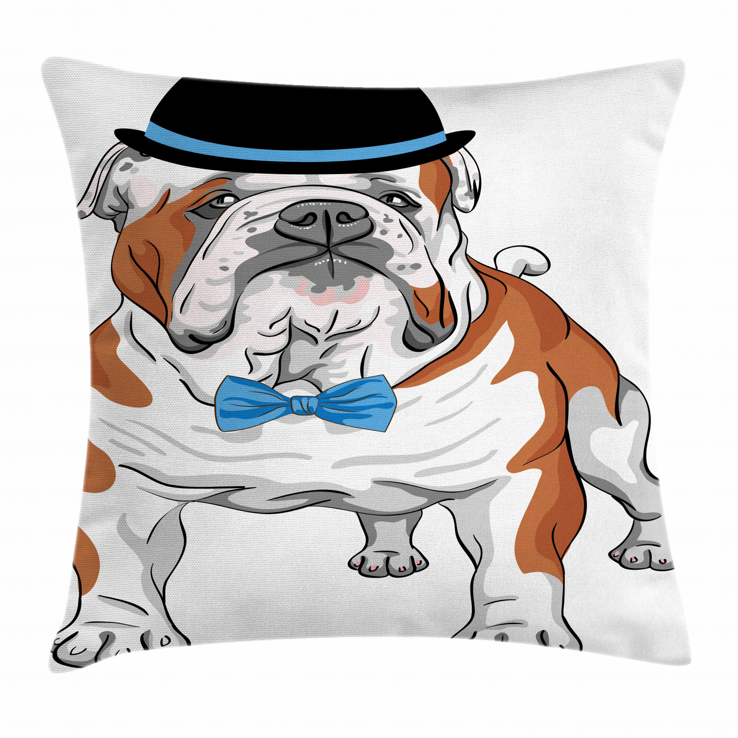 English Bulldog Throw Pillow Cushion Cover Pure Breed Hipster Dog With Vintage Hat And Bow Tie Sketch Animal Decorative Square Accent Pillow Case 16 X 16 Inches Brown Black Blue By Ambesonne