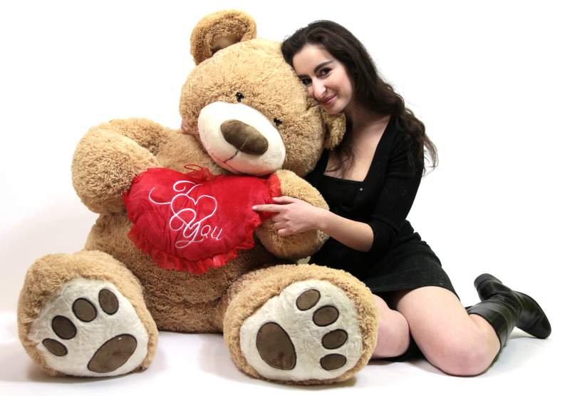 I Love You 5 Foot Giant Teddy Bear Valentine's Day Soft Holds Big Plush Heart Embroidered... by BigPlush