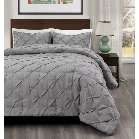 Valley Bedding Collection - 2pc Pinch Pleat Comforter set LIGHT GREY Color Bed Set | Master Collection BY Cozy Beddings