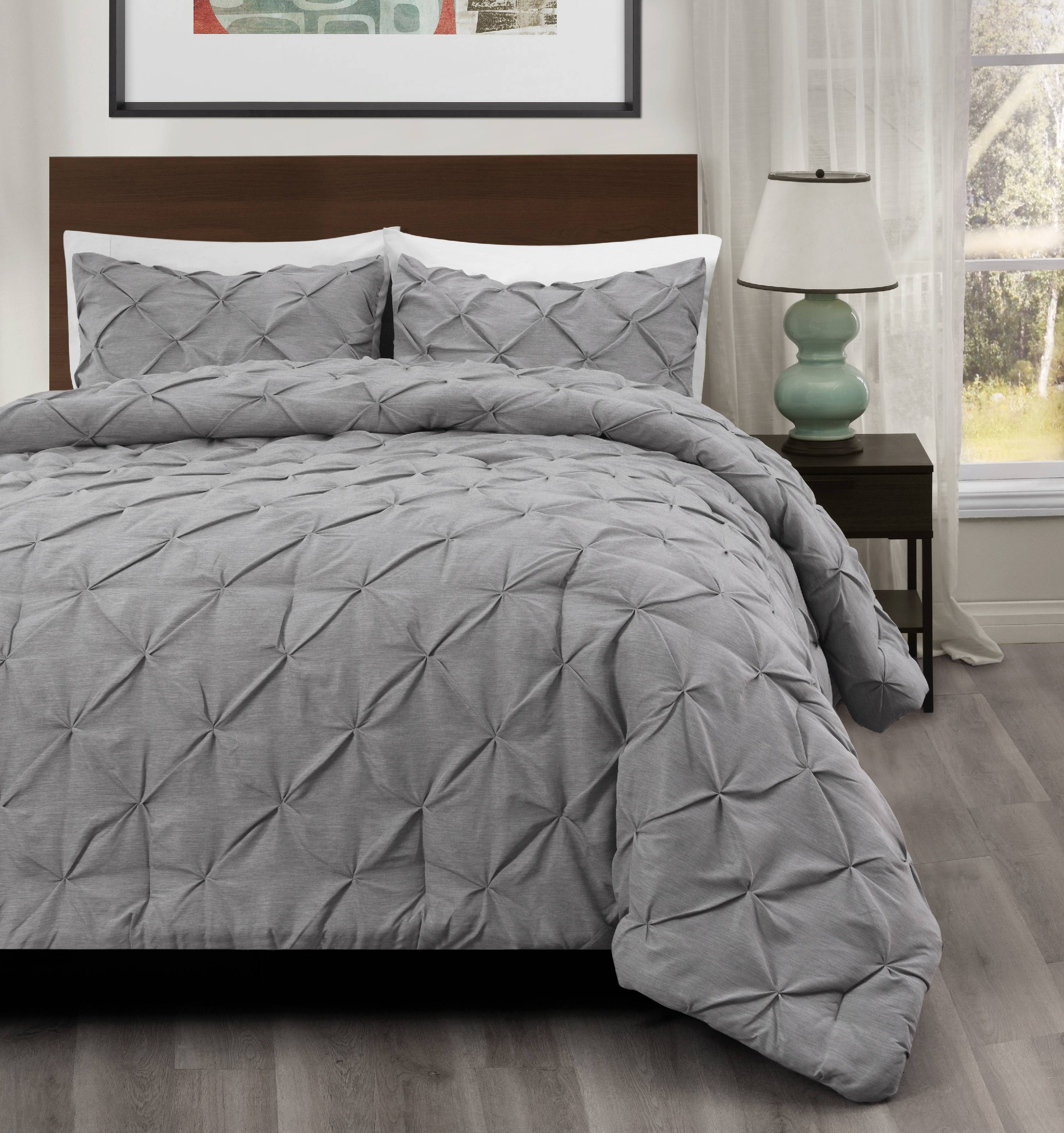 3pc Pinch Pleat Comforter set LIGHT GREY Color Bed Set | Master Collection BY Cozy Beddings