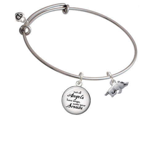 Antiqued Razorback Angels Wear Scrubs Bangle Bracelet