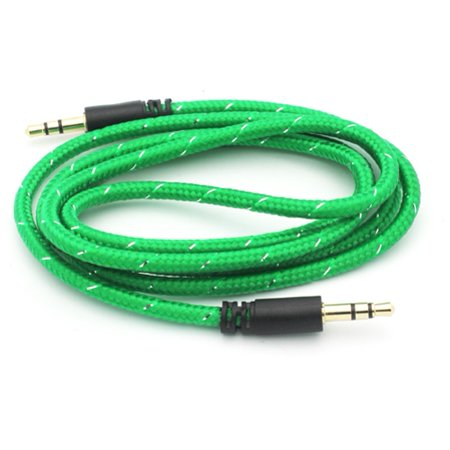 Green Braided Aux Cable Car Stereo Wire Audio Speaker Cord