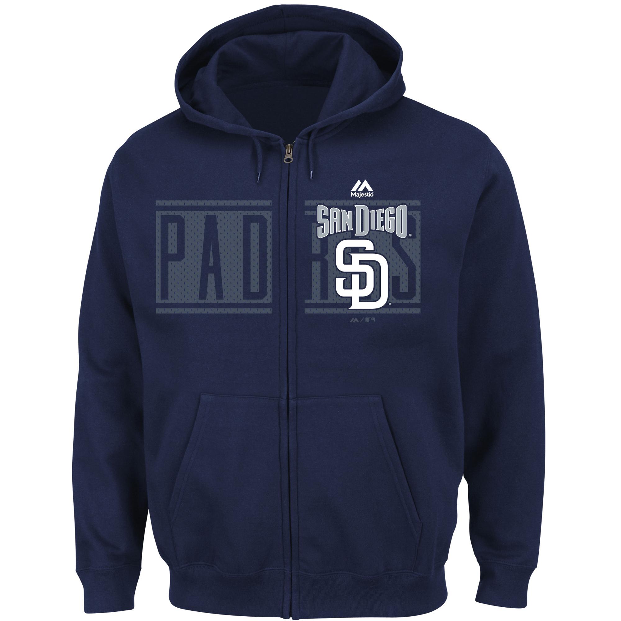 San Diego Padres Majestic Piercing Attack Full-Zip Hoodie - Navy